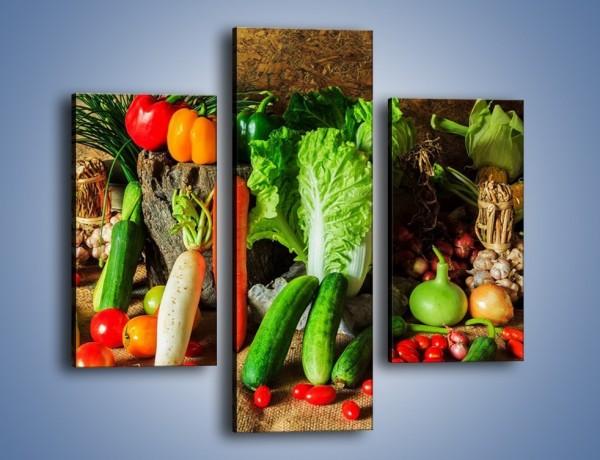 Obraz na płótnie – Warzywa na jednej nodze – trzyczęściowy JN558W3