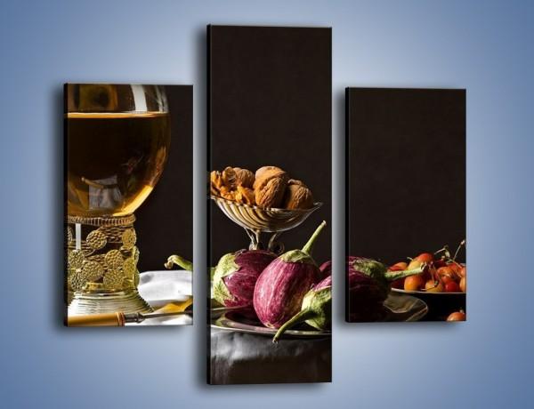 Obraz na płótnie – Świeży sok wśród talerzy – trzyczęściowy JN569W3