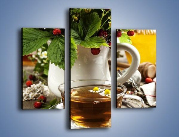Obraz na płótnie – Herbata z poziomką – trzyczęściowy JN574W3