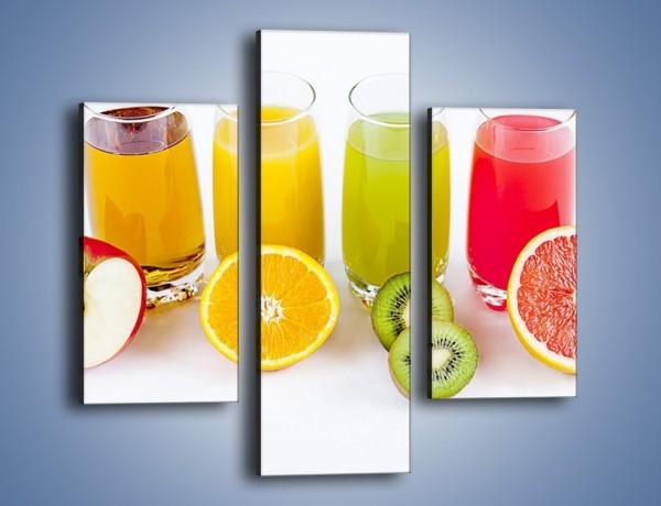 Obraz na płótnie – Świeże soki dla dzieci z owoców – trzyczęściowy JN579W3