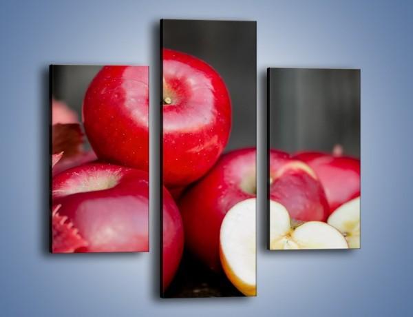 Obraz na płótnie – Czerwone jabłka późną jesienią – trzyczęściowy JN619W3