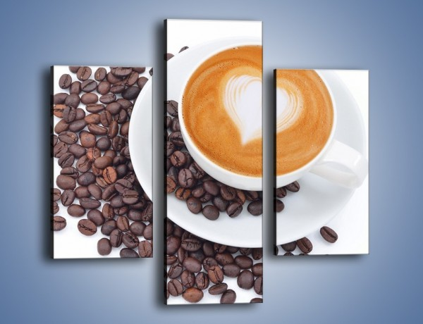 Obraz na płótnie – Miłość i kawa na białym tle – trzyczęściowy JN633W3
