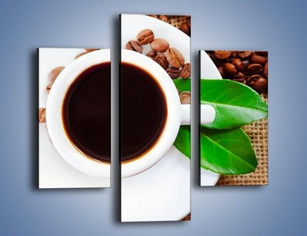 Obraz na płótnie – Kawa z zielonym dodatkiem – trzyczęściowy JN642W3