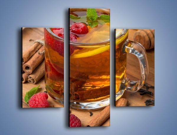 Obraz na płótnie – Herbata ze słodką maliną – trzyczęściowy JN658W3