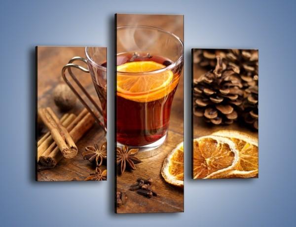 Obraz na płótnie – Zaparzona herbata z pomarańczą – trzyczęściowy JN663W3