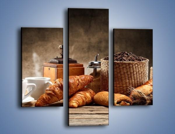 Obraz na płótnie – Rogal idealny do kawy – trzyczęściowy JN670W3