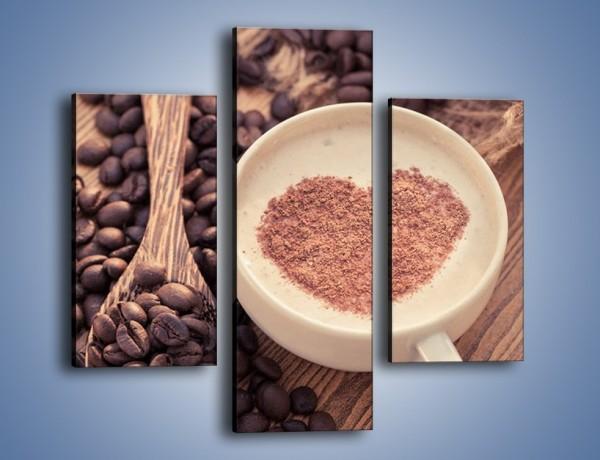 Obraz na płótnie – Idealne serce na kawie – trzyczęściowy JN689W3