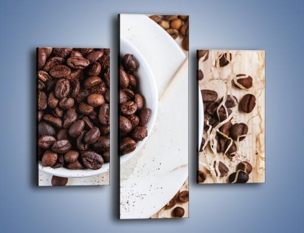 Obraz na płótnie – Kawa wśród beżu i bieli – trzyczęściowy JN718W3