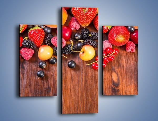 Obraz na płótnie – Stół do polowy wypełniony owocami – trzyczęściowy JN721W3