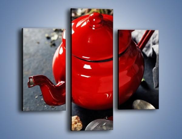 Obraz na płótnie – Malutki czajniczek do herbaty – trzyczęściowy JN722W3