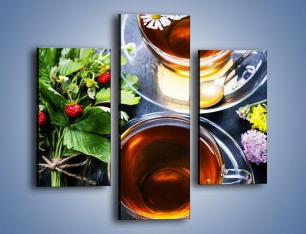 Obraz na płótnie – Herbata otoczona kwiatami – trzyczęściowy JN732W3