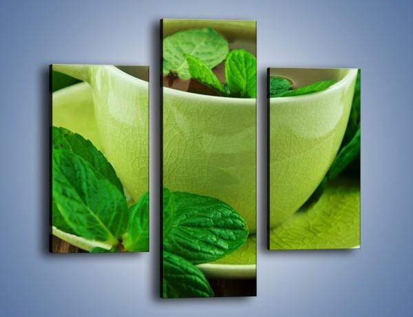 Obraz na płótnie – Zielona moc w herbacie – trzyczęściowy JN734W3