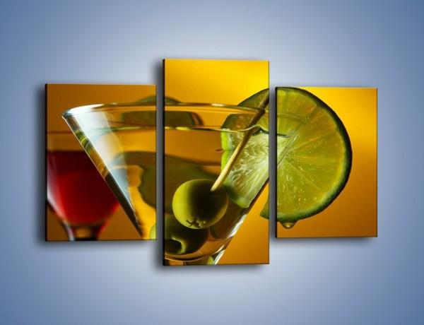 Obraz na płótnie – Drink nie tylko z oliwką – trzyczęściowy JN736W3