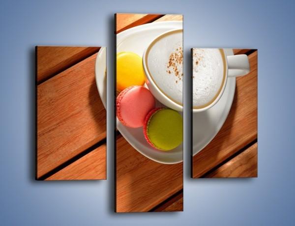 Obraz na płótnie – Makaroniki w towarzystwie kawy – trzyczęściowy JN737W3