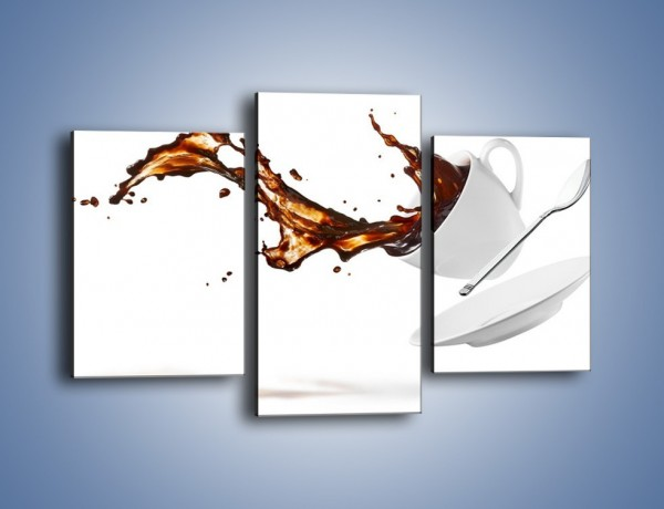 Obraz na płótnie – Rozlana kawa z łyżeczką – trzyczęściowy JN755W3