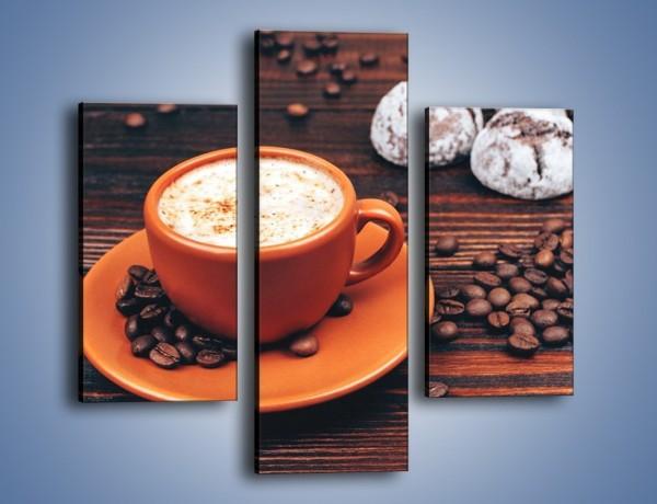 Obraz na płótnie – Kawa w pomarańczowej filiżance – trzyczęściowy JN756W3