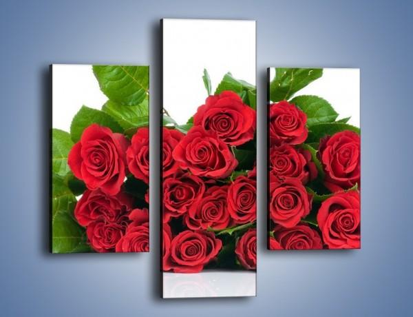 Obraz na płótnie – Idealna wiązanka czerwonych róż – trzyczęściowy K018W3