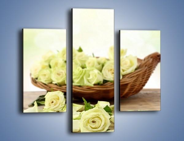 Obraz na płótnie – Kosz ściętych główek róż – trzyczęściowy K021W3