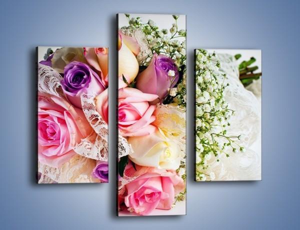Obraz na płótnie – Wiązanka ślubna z róż – trzyczęściowy K022W3