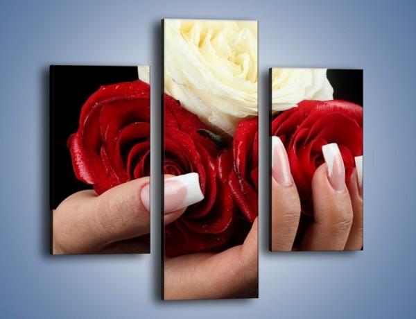 Obraz na płótnie – Pełna garść główek róż – trzyczęściowy K025W3