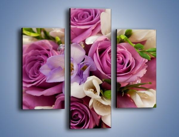 Obraz na płótnie – Piękna wiązanka z lila róż – trzyczęściowy K034W3