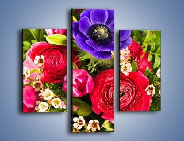 Obraz na płótnie – Wiązanka z kolorowych ogrodowych kwiatów – trzyczęściowy K035W3