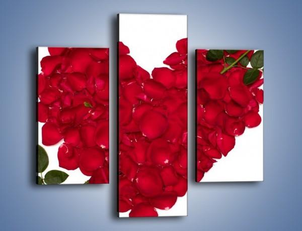 Obraz na płótnie – Różane serce dla ukochanej – trzyczęściowy K042W3