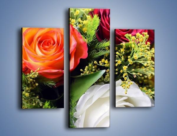 Obraz na płótnie – Róże z polnymi dodatkami – trzyczęściowy K061W3