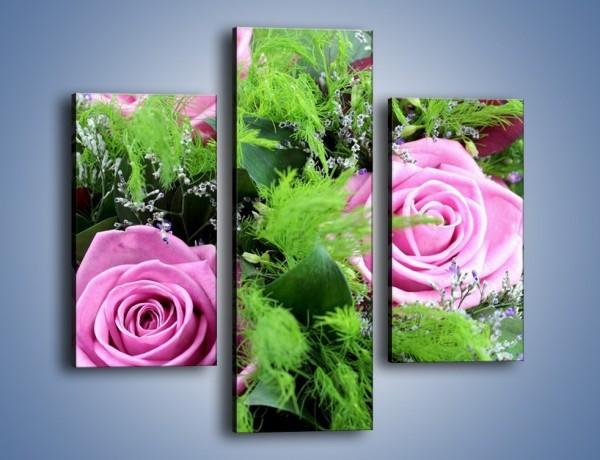Obraz na płótnie – Bukiet róż wypełniony trawką – trzyczęściowy K068W3