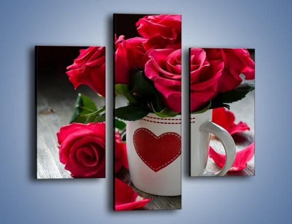 Obraz na płótnie – Kwiatuszki w miłosnym kubeczku – trzyczęściowy K1007W3