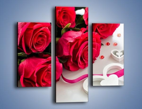 Obraz na płótnie – Róża z miłosnym przekazem – trzyczęściowy K1011W3