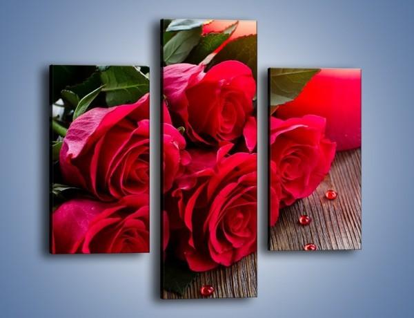Obraz na płótnie – Wieczór we dwoje przy różach – trzyczęściowy K1015W3