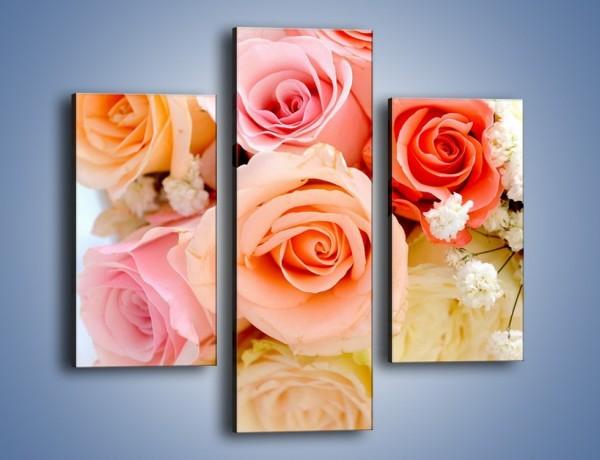 Obraz na płótnie – Dzienny bukiet różany – trzyczęściowy K123W3