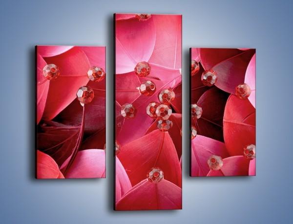 Obraz na płótnie – Koraliki wśród kwiatowych piór – trzyczęściowy K134W3