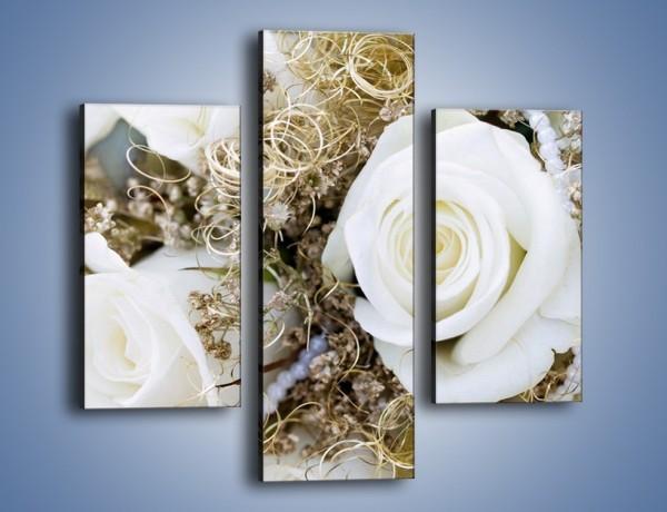 Obraz na płótnie – Perły wśród kwiatów – trzyczęściowy K184W3