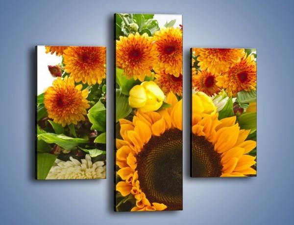 Obraz na płótnie – Łąka bukiet słoneczniki – trzyczęściowy K311W3