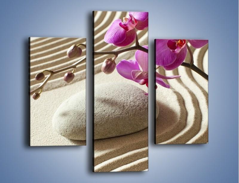 Obraz na płótnie – Wzór na piasku i kwiat – trzyczęściowy K432W3