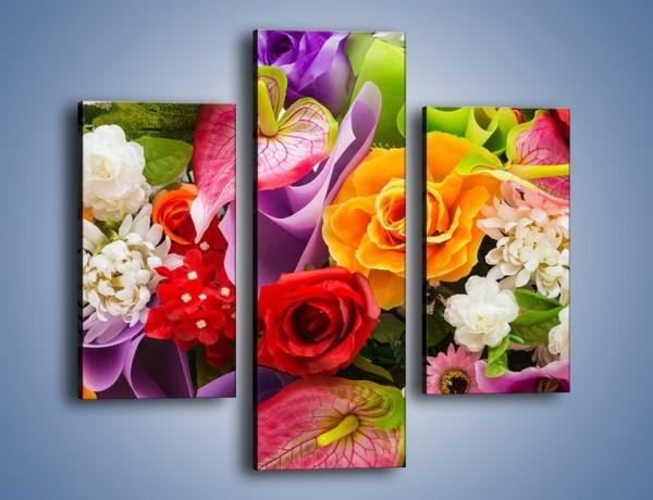 Obraz na płótnie – Kwiaty w kolorze tęczy – trzyczęściowy K462W3