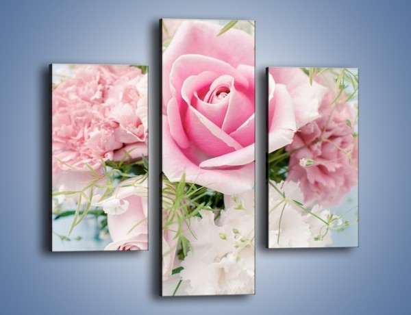 Obraz na płótnie – Kwiaty z ślubną historią – trzyczęściowy K494W3