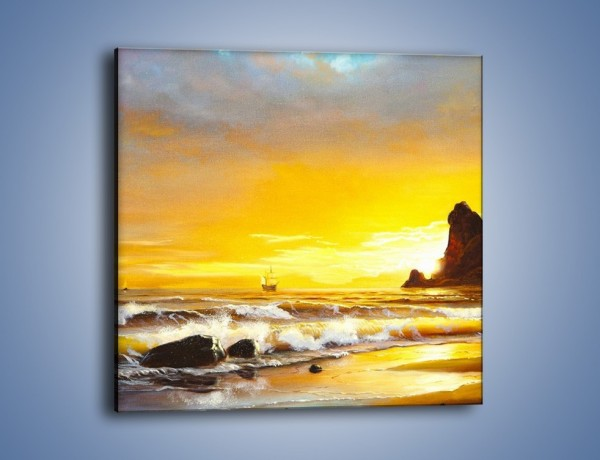 Obraz na płótnie – Morski krajobraz w zachodzącym słońcu – jednoczęściowy kwadratowy GR476