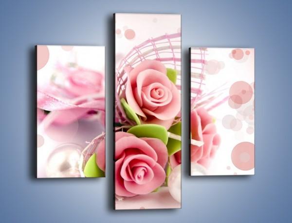 Obraz na płótnie – Marcepanowe róże – trzyczęściowy K591W3