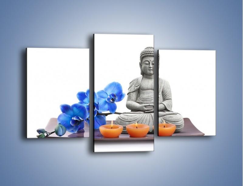 Obraz na płótnie – Budda i kwiat – trzyczęściowy K593W3