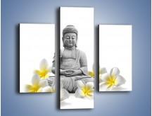 Obraz na płótnie – Budda w białych kwiatach – trzyczęściowy K599W3