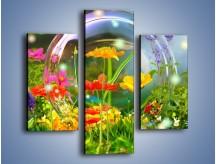 Obraz na płótnie – Bańkowy świat kwiatów – trzyczęściowy K691W3