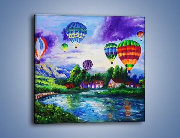 Obraz na płótnie – Lot kolorowym balonem – jednoczęściowy kwadratowy GR482