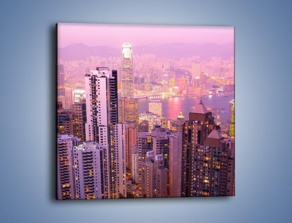 Obraz na płótnie – Duże miasto budzące się o poranku do życia – jednoczęściowy kwadratowy AM062