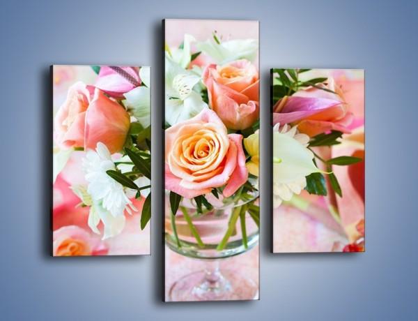 Obraz na płótnie – Kieliszek z kwiatuszkami – trzyczęściowy K948W3