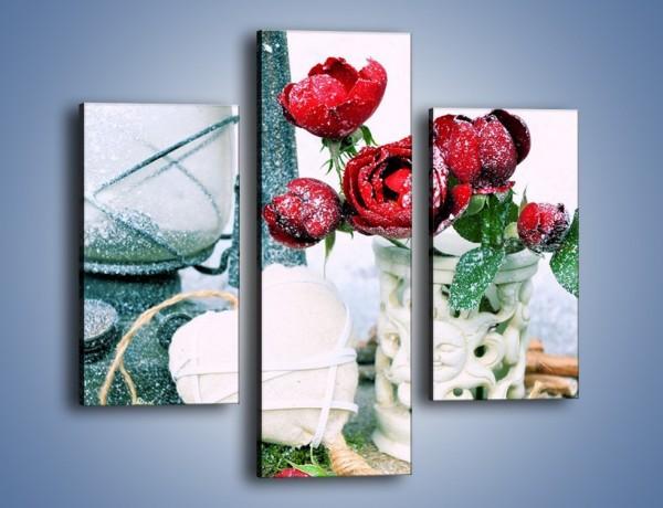 Obraz na płótnie – Zimowe dodatki i kwiaty – trzyczęściowy K987W3