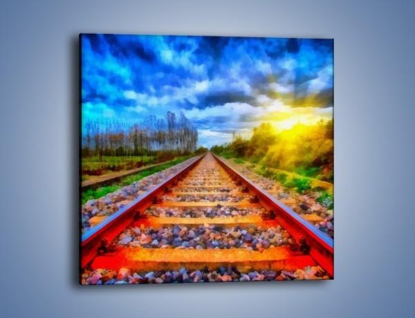 Obraz na płótnie – Podróż w nieznane pociągiem – jednoczęściowy kwadratowy GR488