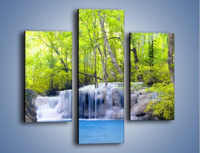Obraz na płótnie – Mały leśny wodospad – trzyczęściowy KN057W3